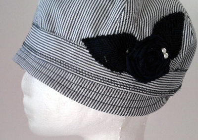 Ladies Cloche Hat - Striped Linen with Twisted Flower