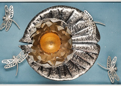 Elizabeth Goluch, Dragonfly Bowl: Sterling silver, 14k gold, gold plate. 46x31x15cm, 2012.