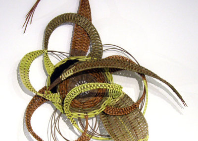 Beth Crabb, Joyful Dance: Willow, reed, wool; twining, wrapping, plain weave. 2013, $925.