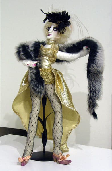 Trylotti (Shirley Taylor), 1983: Silk, fabric, paint, mixed media; Stitching, crochet. $200