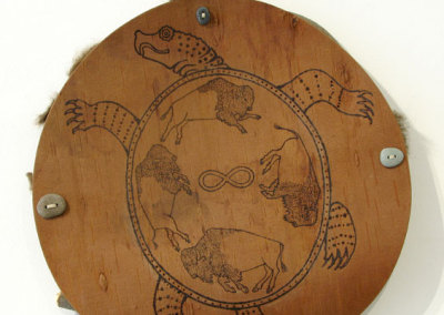 Turtle Shield (Paul Lapointe), 2012: Birch bark, willow, stone, sinew, snakeskin. $700