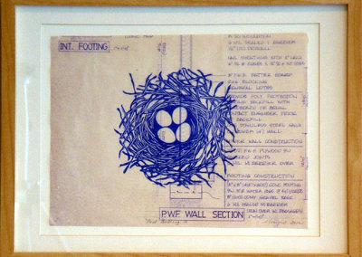 Nest Building V, 2012: Ink on blueprint. $300