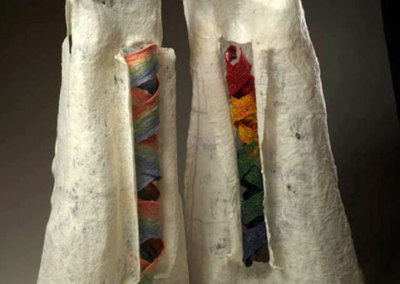 What Counts? (Diptych) - Left, 2011: Wool, cotton thread, acrylic medium; hand felted, hand dyed, machine embroidered - $2,000 pair. Is That All There Is? (Diptych) - Right, 2009: Wool, cotton thread, acrylic medium; hand felted, hand dyed, machine embroidered - $2,000 pair