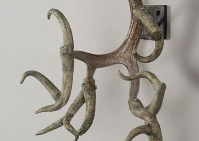 Paula Cooley, You Too Can Be A Twelve Point Buck!, 2011 - stoneware clay, slip, underglaze, antler, metal, epoxy; hand built and assembled