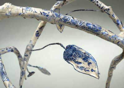 Anita Rocamora: Blue Willow (detail), 2013. Ceramic sculpture, $350.