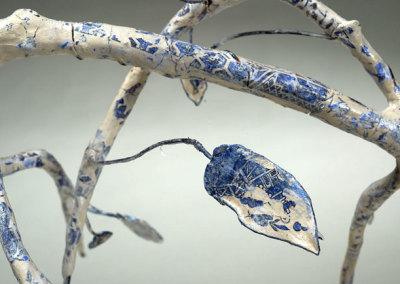 Anita Rocamora: Blue Willow (detail), 2013. Ceramic sculpture, $350.