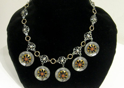 Melody Armstrong, Citron Neckpiece: Sterling silver, 14k gold, enamel, copper, diamonds; Piercing, soldering, enamelling, doming, stone setting, texturing. 2013, $3,500.