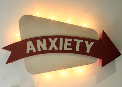 Arthur Perlett, Asquith, SK - Anxiety, 2012. Wood, paint, lighting, NFS $950