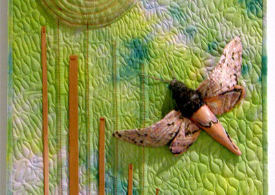 Cheryl Andrist, Pink Spotted Hawkmoth: Cotton, copper, polyester fill, thread; machine quilted, hand stitched. 2012, $1,000.