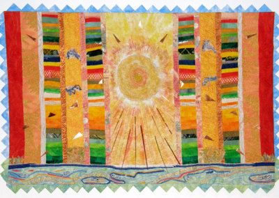 Cheryl Andrist, Sol: Shining Light of the Plains: Textiles, coated copper, yarn, thread, polyester fill, dyed fabric, satin; machine quilted, hand stitched. 2013, $5,000.