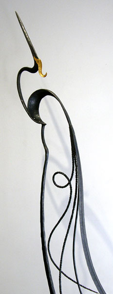 John Monteath, Cochrane, AB - The Shy, 2012. Steel, copper, sandstone, gold leaf, $1,800