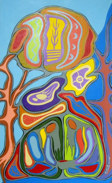 Grandmothers'-Gathering (Lloyd Dubois) 2014: Acrylic on canvas. $1,650.