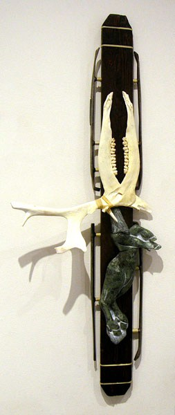 Rossel Bérard, Inukjuak, QC - Arctic Survival, 2012. Wood, caribou antler and bone, metal, nylon string, $500