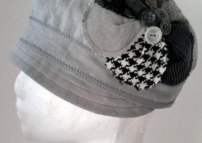 Ladies Cloche Hat - Grey Linen with Applique Flower