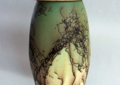 Tall Lidded Vase-wheel thrown. Horse hair and under glaze decoration.