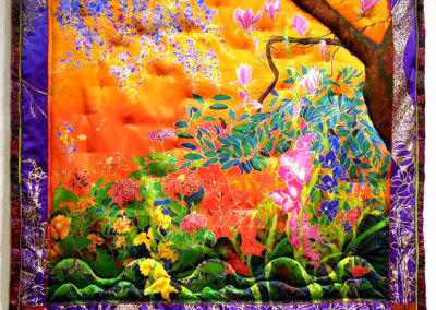 Garden in Orange Sunset Quilt, 2011. Hand-dyed silk, ink-jet printed silk satin, silk kimono fabric, sequins; Embroidery, hand & machine stitching, and hand painting, Collection of Lorna Crozier & Patrick Lane.