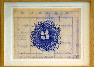 Nest Building IV, 2012: Ink on blueprint. $300
