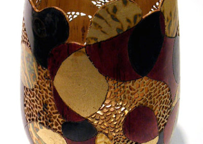 Chaos: Debra McLeod, 2011 - Birch wood, paint, gold leaf; Turned, pierced, burned, painted, and gold leafed. $400