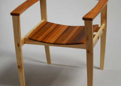 Mike Fulop, Bureau Chair, 2011 - armrest & seat bottom are Cypress; frame is Locust; oil; through mortise & tenon joinery, hand carved armrest, rubbed oil finish