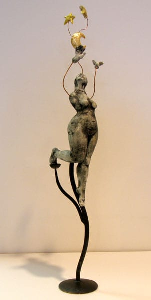 Dancing in the Moonlight - Deborah Potter (clay, underglaze, copper wire, and metal stand)