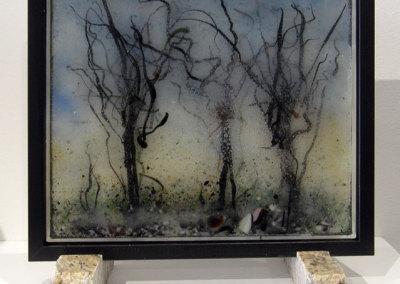 Robert Miller, Winterfog: Sheet glass, frit, powder, pull stringers; painting with frit, fusing. 2013, $380.