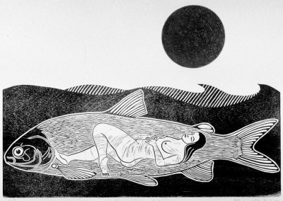 Once In A Green Moon - Woodcut and Salt Etching