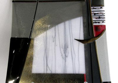 Linda Billo, S for Zando: Pattern bars, dichoric, irid glass; fused, slumped, sand blasted. 2013, $800.
