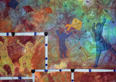 Where Will The Children Play? 2011. $2,905. 44h x 33w (inches). Hand-dyed cotton, polyester sheers, fibre glass screening, glass beads, hand and machine embellished (detail).