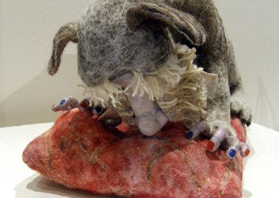 Laura Kinzel, DOG-MA - Laura Greta Pet Scan Hybrid: Wool, polyclay, acrylic paint, GAC, polymer, toilet paper, quilt batting; need felting, sculpting. 2013, NFS.