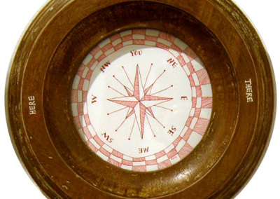 Fabiane Garcia, Berkeley, CA - Compass, 2012. Watercolour, ink, paper, acrylic, wood, glass, $250