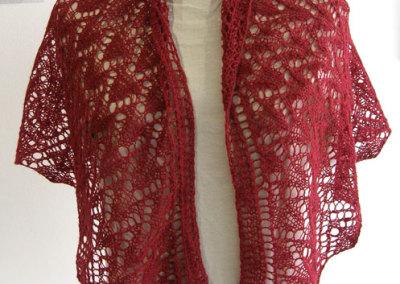 Anna Hergert, Wool Gatherer's Shawl: Cashgora/Merino blend, natural & acid dyes; hand dyeing, hand spinning, hand knitting. 2012, $395.