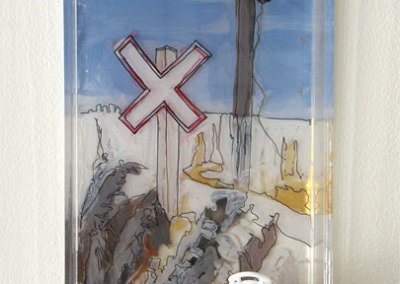 Sandra Epp, Crossroads: Delta Bessborough soap tray, acrylic paint, mixed media; painting, assembling. 2013, $50.
