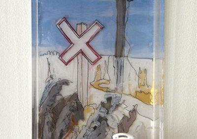 Sandra Epp, Crossroads: Delta Bessborough soap tray, acrylic paint, mixed media; painting, assembling. 2013, $50.