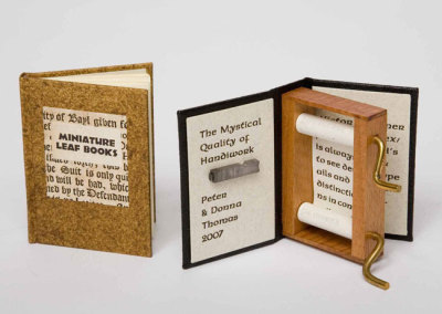 LEFT - Miniature Leaf Books, RIGHT - The Mystical Quality of Handiwork - Peter & Donna Thomas