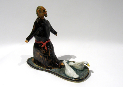 Mathew, The Mean Monk (Allan Phillips), 2014: White clay, cone 10 glazes, stains, clear nail polish; modeling and slab. $313 NFS