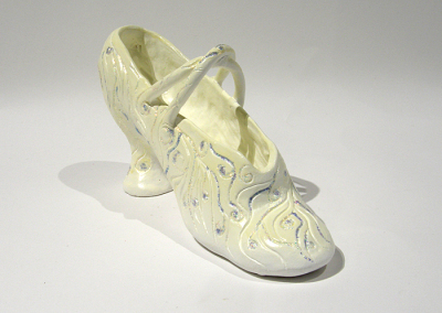 Antoinette Danced Till She Wore Out The Soles Of Her Shoes (Mary Ferguson), 2014: Clay, acrylics, glitter, glue; hand built. $200 NFS