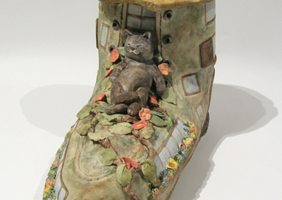 The Shoe Inn, Fine Dining Indeed! (Helen Cooke), 2014: Danish white clay, stains and water based oil paints; slab built, electric fired cone 6. $300