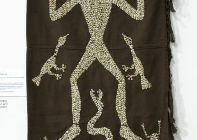 Lau Hada- Orang Kuching (Sarong) (Unknown artist): Hand spun local cotton, mud dye, nassa shells, heirloom trade beads: weaving, mud dyeing. $650