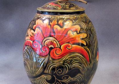 14. English Sparrow Jar (Debra Kuzyk and Ray Mackie), 2016: Cone 6 porcelain; carved decoration. $750