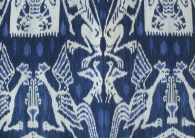 Keliuda Ikat (Unknown artist): Dutch cotton, indigenous natural dyes ( Indigo plant): weaving, dyeing. Sold.