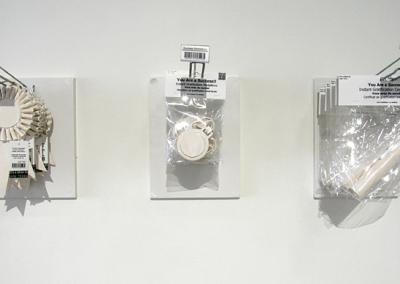 Success Rosette Ribbons (Monique Martin), 2014: Clay, glaze, paper and plastic; slab construction. $50