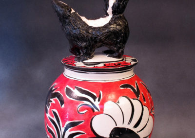 19. Skunk Jar (Debra Kuzyk and Ray Mackie), 2016: Stoneware; on-glaze decoration. $950.