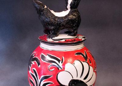19. Skunk Jar (Debra Kuzyk and Ray Mackie), 2016: Stoneware; on-glaze decoration. $950.