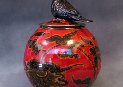 22. Crow Jar (Debra Kuzyk and Ray Mackie), 2016: Cone 6 porcelain; underglaze decoration. $850.