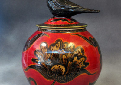 24. Crow Jar (Debra Kuzyk and Ray Mackie), 2016: Cone 6 porcelain; underglaze decoration. $850.