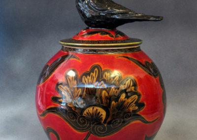 24. Crow Jar (Debra Kuzyk and Ray Mackie), 2016: Cone 6 porcelain; underglaze decoration. $850.