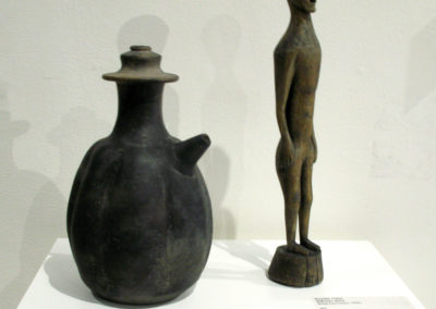 Majapahit relic - water/oil urn (Unknown artist): Terracotta - fired earthenware: . NFS $500; Vintage ancestor statues (Unknown artist): Wood: Each $125