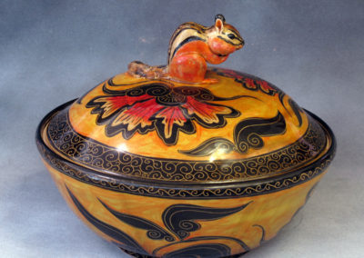 25. Chipmunk Lidded Bowl (Debra Kuzyk and Ray Mackie), 2016: Cone 6 porcelain. Not for sale.