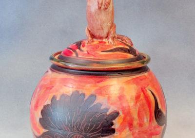 26. Gopher Jar (Debra Kuzyk and Ray Mackie), 2016: Cone 6 porcelain; on-glaze decoration. $600.