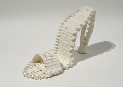 Wired (Teresa Gagne), 2014: Paperclay, metal; armature constructed then dipped in paperclay slip. $180